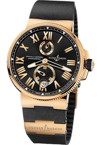 Ulysse Nardin Watches - Marine Chronometer Manufacture 45mm - Rose Gold - Rubber Strap - Style No: 1186-122-3/42