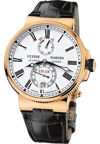 Ulysse Nardin Watches - Marine Chronometer Manufacture 45mm - Rose Gold - Leather Strap - Style No: 1186-122/40