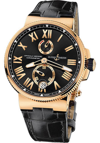 Ulysse Nardin Watches - Marine Chronometer Manufacture 45mm - Rose Gold - Leather Strap - Style No: 1186-122/42