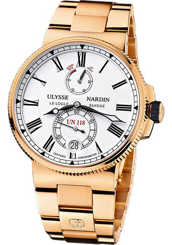 Ulysse Nardin Watches - Marine Chronometer Manufacture 45mm - Rose Gold - Bracelet - Style No: 1186-122-8M/40