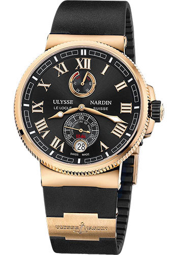 Ulysse Nardin Watches - Marine Chronometer Manufacture 43mm - Rose Gold - Rubber Strap - Style No: 1186-126-3/42