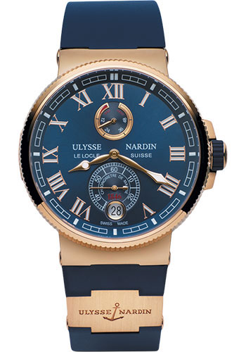 Ulysse Nardin Watches - Marine Chronometer Manufacture 43mm - Rose Gold - Rubber Strap - Style No: 1186-126-3/43