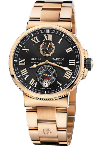 Ulysse Nardin Watches - Marine Chronometer Manufacture 43mm - Rose Gold - Bracelet - Style No: 1186-126-8M/42
