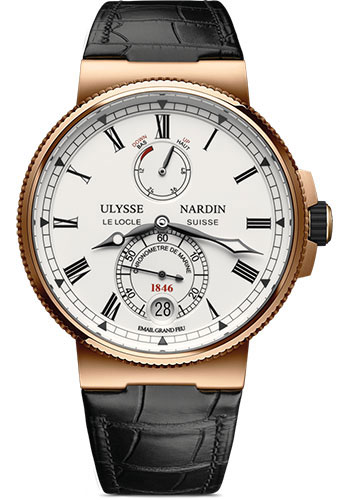 Ulysse Nardin Watches - Marine Chronometer Manufacture 43mm - Rose Gold - Leather Strap - Style No: 1186-126/E0
