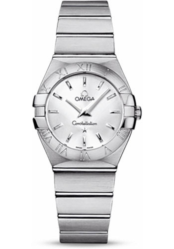 Omega Watches - Constellation Quartz 27 mm - Brushed Stainless Steel - Style No: 123.10.27.60.02.001