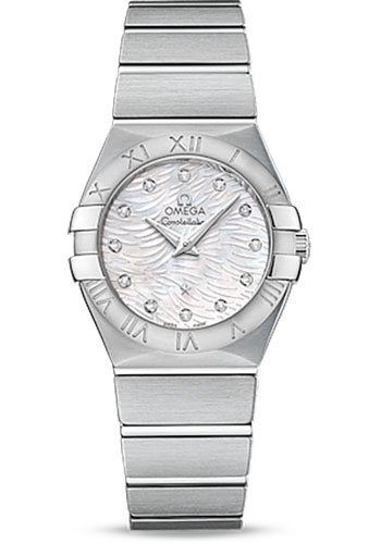 Omega Watches - Constellation Quartz 27 mm - Brushed Stainless Steel - Style No: 123.10.27.60.55.004