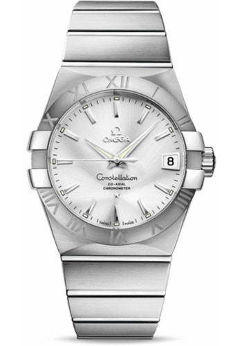 Omega Watches - Constellation Co-Axial 38 mm - Brushed Stainless Steel - Style No: 123.10.38.21.02.001