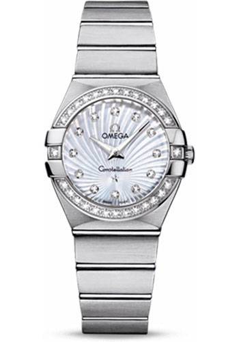 Omega Watches - Constellation Quartz 27 mm - Brushed Stainless Steel - Style No: 123.15.27.60.55.002