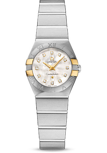 Omega Watches - Constellation Quartz 24 mm - Brushed Steel and Yellow Gold Claws - Style No: 123.20.24.60.55.006