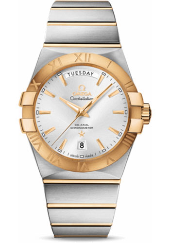 Omega Watches - Constellation Co-Axial Day-Date 38 mm - Stainless Steel And Yellow Gold - Style No: 123.20.38.22.02.002