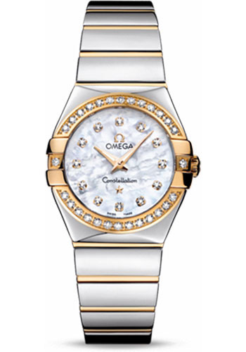 Omega Watches - Constellation Quartz 27 mm - Polished Steel and Yellow Gold - Style No: 123.25.27.60.55.007