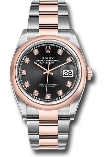 Rolex Watches - Datejust 36 Steel and Pink Gold - Domed Bezel - Oyster - Style No: 126201 bkdo