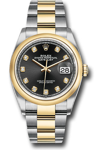 Rolex Watches - Datejust 36 Steel and Yellow Gold - Domed Bezel - Oyster - Style No: 126203 bkdo