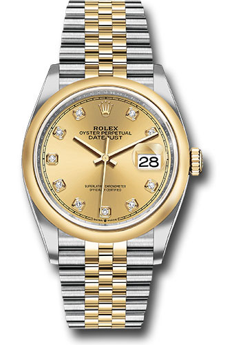 Rolex Watches - Datejust 36 Steel and Yellow Gold - Domed Bezel - Jubilee - Style No: 126203 chdj