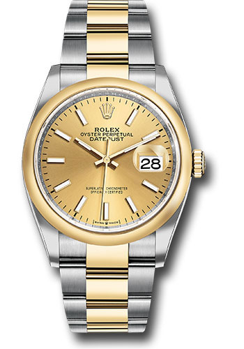 Rolex Watches - Datejust 36 Steel and Yellow Gold - Domed Bezel - Oyster - Style No: 126203 chio