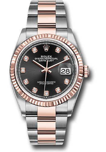Rolex Watches - Datejust 36 Steel and Pink Gold - Fluted Bezel - Oyster - Style No: 126231 bkdo