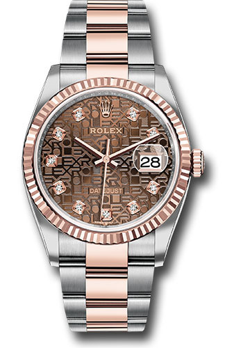 Rolex Watches - Datejust 36 Steel and Pink Gold - Fluted Bezel - Oyster - Style No: 126231 chojdo