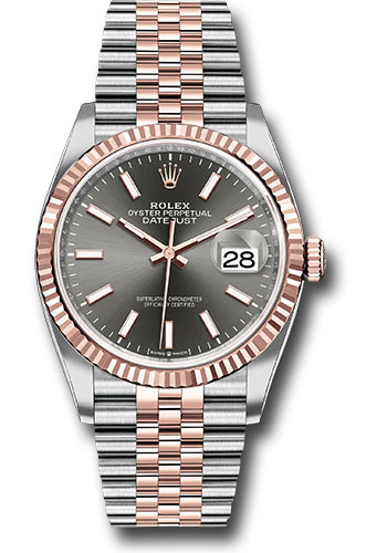 Rolex Watches - Datejust 36 Steel and Pink Gold - Fluted Bezel - Jubilee - Style No: 126231 dkrij