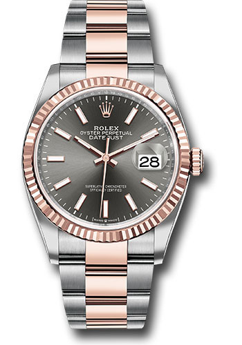 Rolex Watches - Datejust 36 Steel and Pink Gold - Fluted Bezel - Oyster - Style No: 126231 dkrio