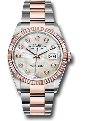 Rolex Watches - Datejust 36 Steel and Pink Gold - Fluted Bezel - Oyster - Style No: 126231 mdo