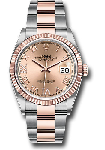 Rolex Watches - Datejust 36 Steel and Pink Gold - Fluted Bezel - Oyster - Style No: 126231 rdr69o