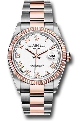Rolex Watches - Datejust 36 Steel and Pink Gold - Fluted Bezel - Oyster - Style No: 126231 wro