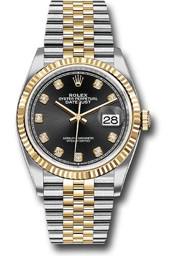 Rolex Steel and Yellow Gold Rolesor Datejust 36 Watch , Fluted Bezel ,  Black Diamond Dial , Jubilee Bracelet , 116185 mdw