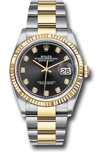 Rolex Watches - Datejust 36 Steel and Yellow Gold - Fluted Bezel - Oyster - Style No: 126233 bkdo
