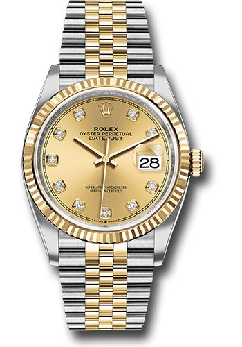 Rolex Watches - Datejust 36 Steel and Yellow Gold - Fluted Bezel - Jubilee - Style No: 126233 chdj
