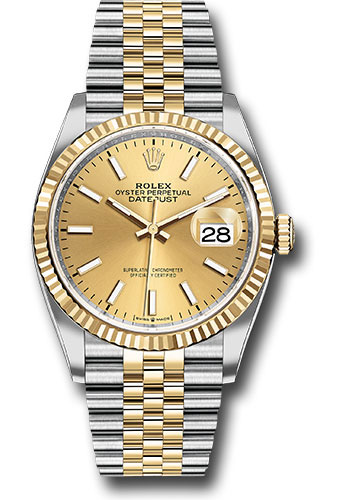 Rolex Watches - Datejust 36 Steel and Yellow Gold - Fluted Bezel - Jubilee - Style No: 126233 chij