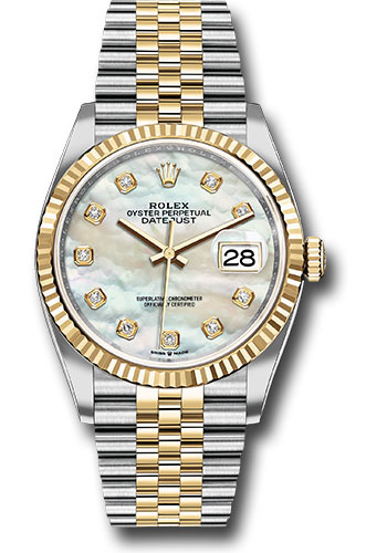 Rolex Watches - Datejust 36 Steel and Yellow Gold - Fluted Bezel - Jubilee - Style No: 126233 mdj