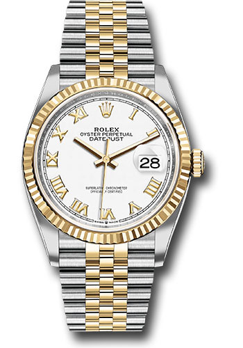 Rolex Watches - Datejust 36 Steel and Yellow Gold - Fluted Bezel - Jubilee - Style No: 126233 wrj