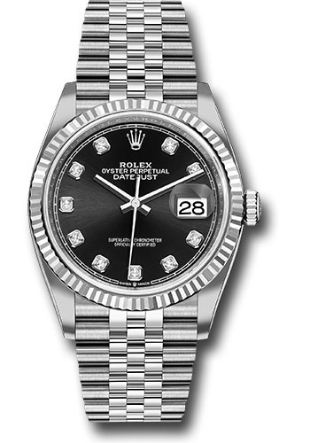 Rolex Watches - Datejust 36 Steel and White Gold - Fluted Bezel - Jubilee - Style No: 126234 bkdj