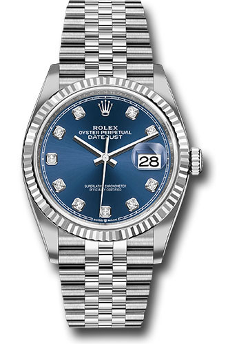 Rolex Watches - Datejust 36 Steel and White Gold - Fluted Bezel - Jubilee - Style No: 126234 bldj