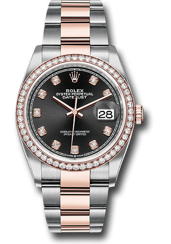 Rolex Watches - Datejust 36 Steel and Pink Gold - Diamond Bezel - Oyster - Style No: 126281RBR bkdo