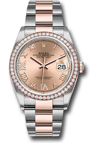 Rolex Watches - Datejust 36 Steel and Pink Gold - Diamond Bezel - Oyster - Style No: 126281RBR rdr69o