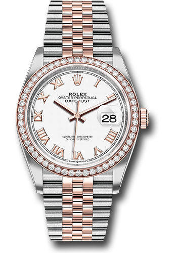 Rolex Watches - Datejust 36 Steel and Pink Gold - Diamond Bezel - Jubilee - Style No: 126281RBR wrj