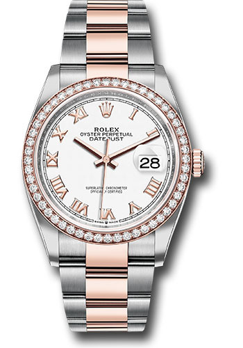 Rolex Watches - Datejust 36 Steel and Pink Gold - Diamond Bezel - Oyster - Style No: 126281RBR wro