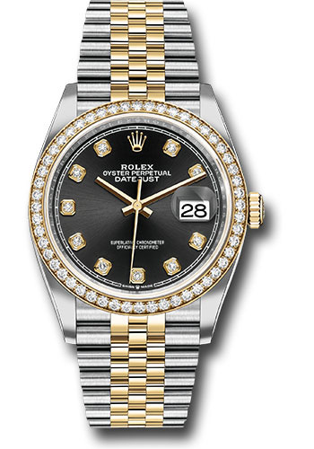 Rolex Watches - Datejust 36 Steel and Yellow Gold - Diamond Bezel - Jubilee - Style No: 126283RBR bkdj