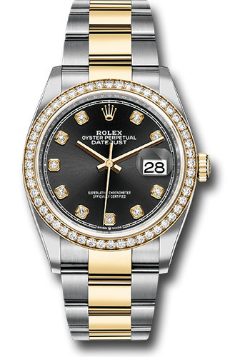 Rolex Watches - Datejust 36 Steel and Yellow Gold - Diamond Bezel - Oyster - Style No: 126283RBR bkdo