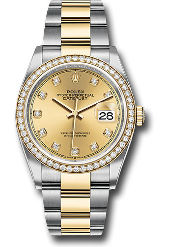 Rolex Watches - Datejust 36 Steel and Yellow Gold - Diamond Bezel - Oyster - Style No: 126283RBR chdo