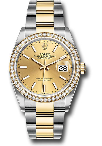 Rolex Watches - Datejust 36 Steel and Yellow Gold - Diamond Bezel - Oyster - Style No: 126283RBR chio