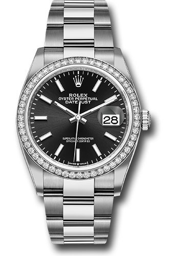 Rolex Watches - Datejust 36 Steel and White Gold - Diamond Bezel - Oyster - Style No: 126284RBR bkio