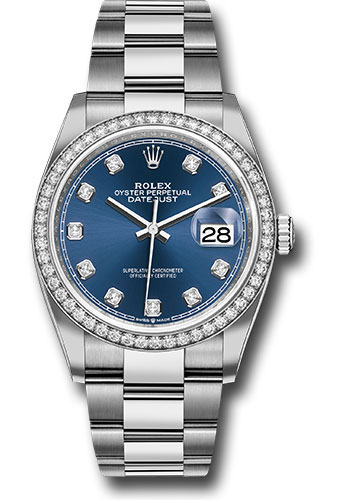 Rolex Watches - Datejust 36 Steel and White Gold - Diamond Bezel - Oyster - Style No: 126284RBR bldo