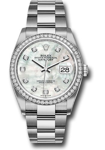 Rolex Watches - Datejust 36 Steel and White Gold - Diamond Bezel - Oyster - Style No: 126284RBR mdo