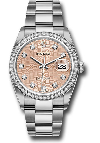 Rolex Watches - Datejust 36 Steel and White Gold - Diamond Bezel - Oyster - Style No: 126284RBR pjdo