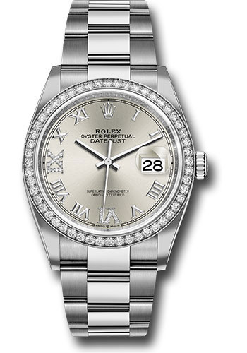 Rolex Watches - Datejust 36 Steel and White Gold - Diamond Bezel - Oyster - Style No: 126284RBR sdr69o