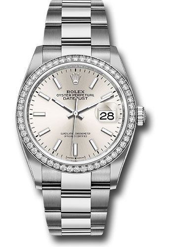 Rolex Watches - Datejust 36 Steel and White Gold - Diamond Bezel - Oyster - Style No: 126284RBR sio