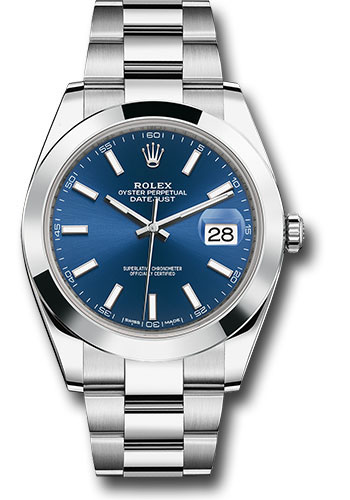 Rolex Watches - Datejust 41 Steel - Smooth Bezel - Oyster - Style No: 126300 blio