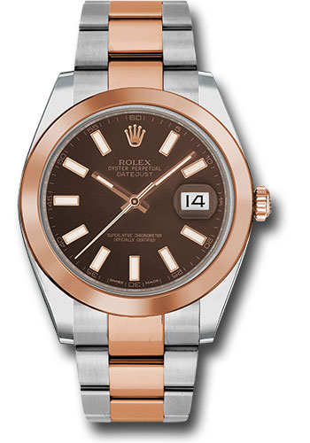 Rolex Watches - Datejust 41 Steel and Pink Gold - Smooth Bezel - Oyster - Style No: 126301 choio